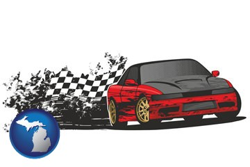 auto racing - with Michigan icon